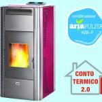 Termostufa pellet queen idro 20 bordeaux