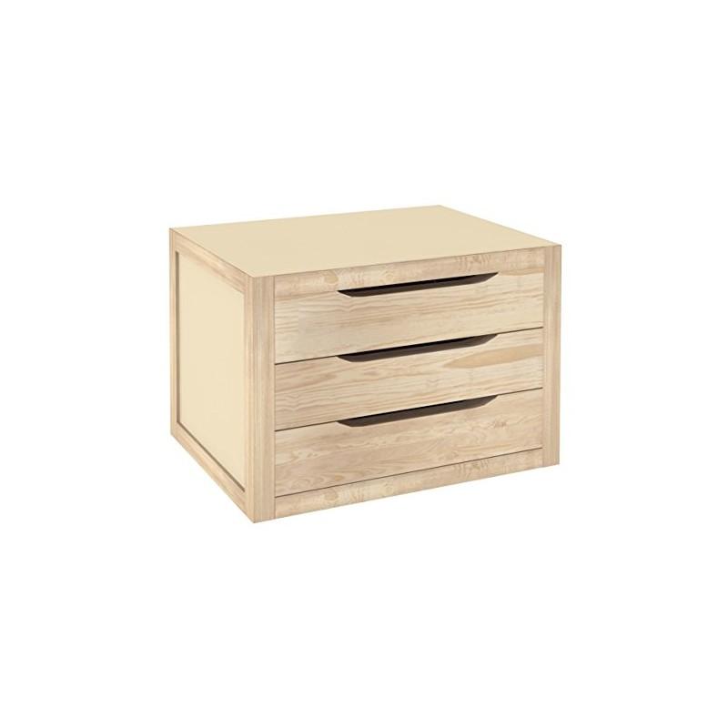 Cassettiera da tavolo legno naturale 40 cm con 3 cassetti