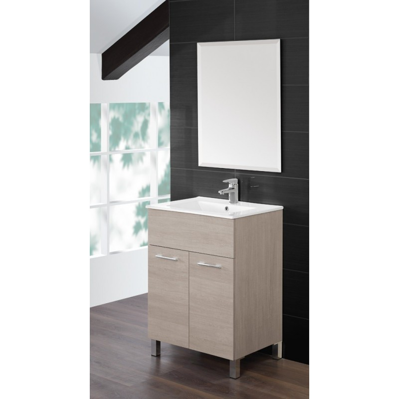 Mobile bagno  60 cm  lavabo ceramica  specchio  rovere chiaro  Feridras  Brico Casa