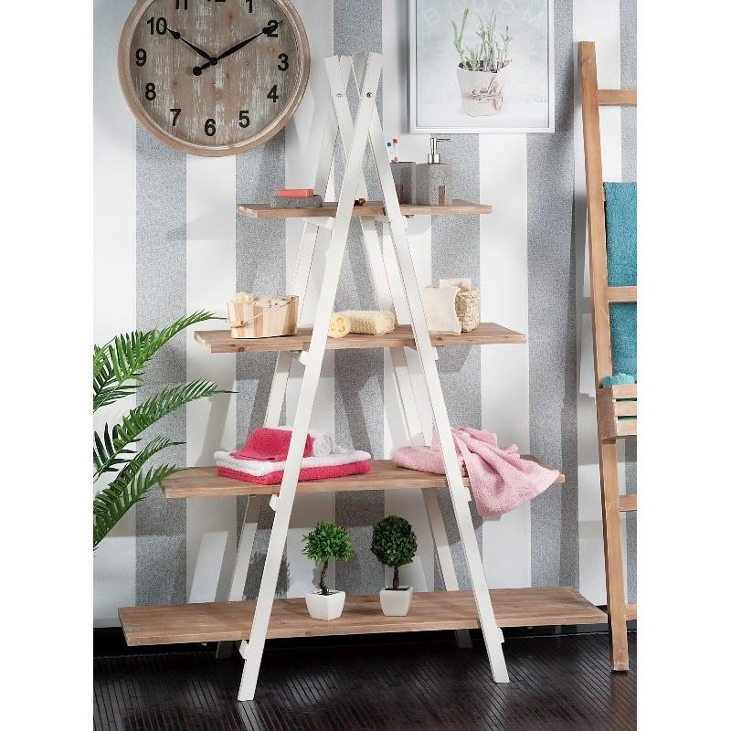 Mobile scaffale legno naturale grezzo da bagno bianco  Brico Casa