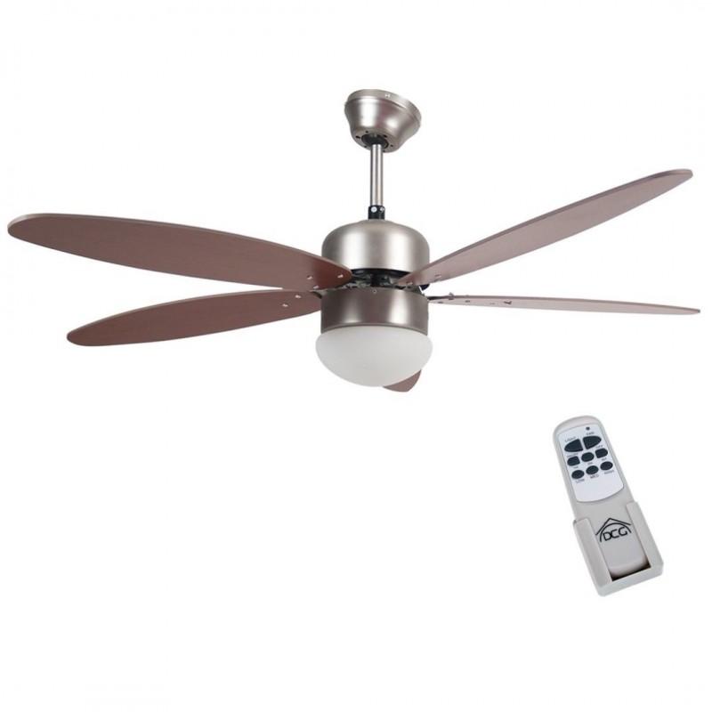 【telecomando intelligente】lampadario con ventilatore adotta una nuova. Ventilatore Soffitto Parete 5 Pale Noce Con Lampada 130 Cm Telecomando Brico Casa