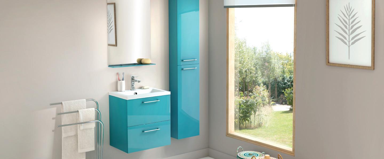 Meuble Slim Turquoise L 50 Cm Le Plan Vasque Brico Depot