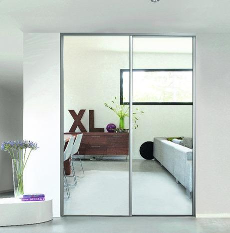 porte de placard coulissante valla h 247 5 x l 92 2 cm miroir argent form