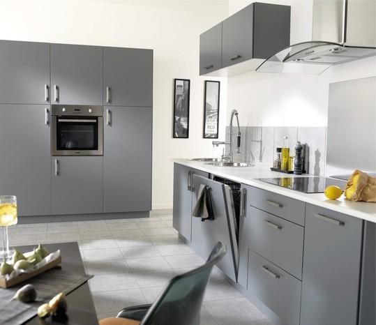 cuisine blanche plan de travail gris anthracite