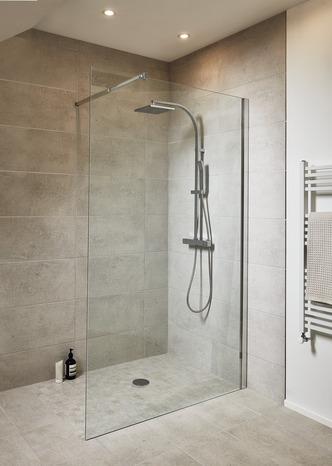 paroi fixe pour douche a l italienne beloya en verre transparent h 195 x l 120 cm goodhome