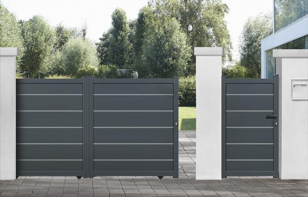 portail coulissant aluminium gris