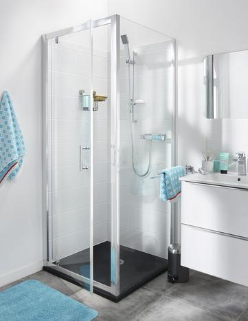 paroi de douche fixe verre transparent 190 x 80 cm cooke and lewis