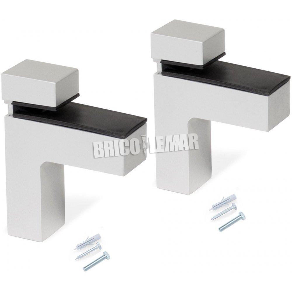 set 2 supports pour le bois d etagere ou de verre epaisseur 4 38mm 2 effectif emuca