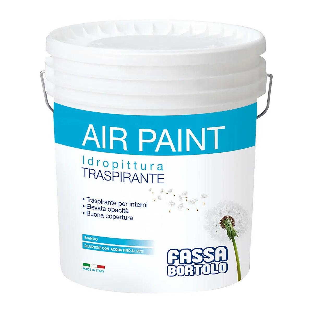 Pittura lavabile acrilica bianca interni esterni. Idropittura Traspirante Air Paint Fassa 14 L Bianco Per Interno 4 5 M Con 1 L A 2 Mani Bricoman