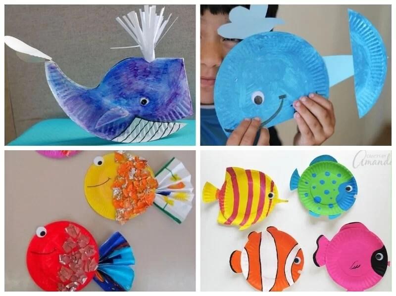 peces hechos con platos de papel