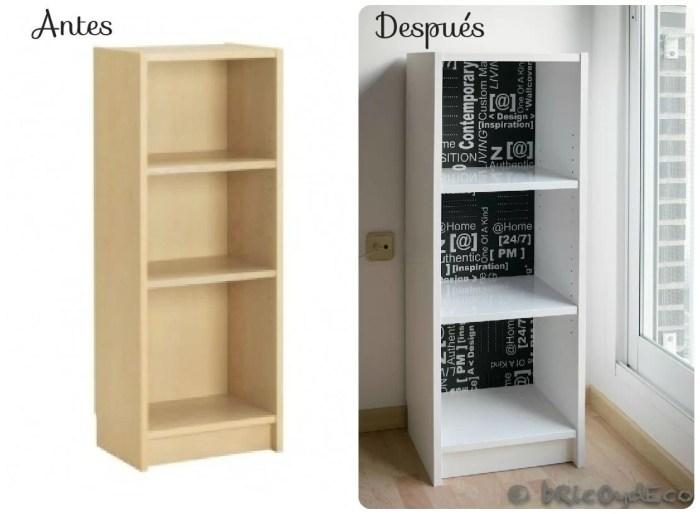 Antes y después de una librería Billy de Ikea
