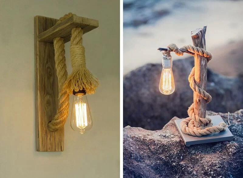 hacer lámparas con cuerdas