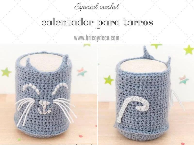 Funda de crochet para tarros de vidrio con forma de gato