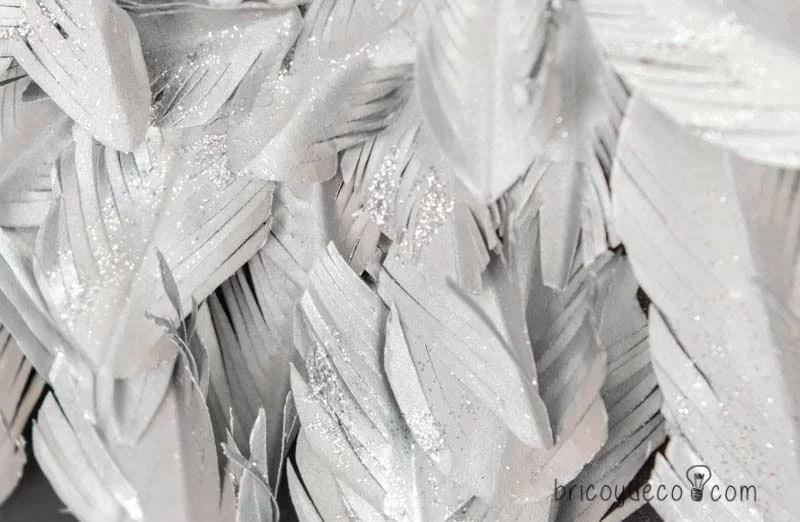 plumas de papel con purpurina