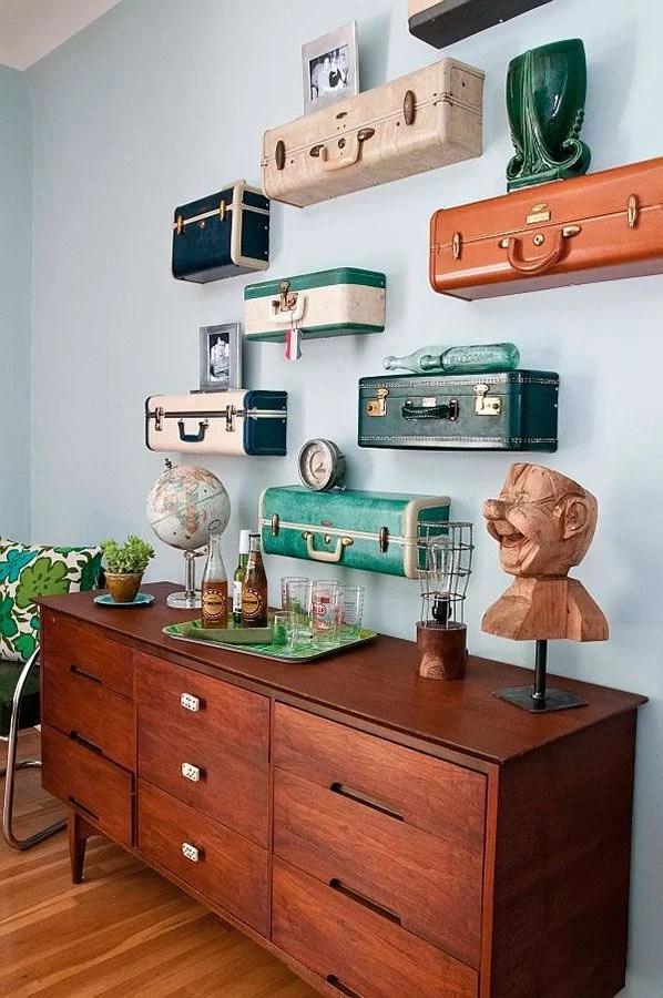 decorar con maletas y reciclar como estantes