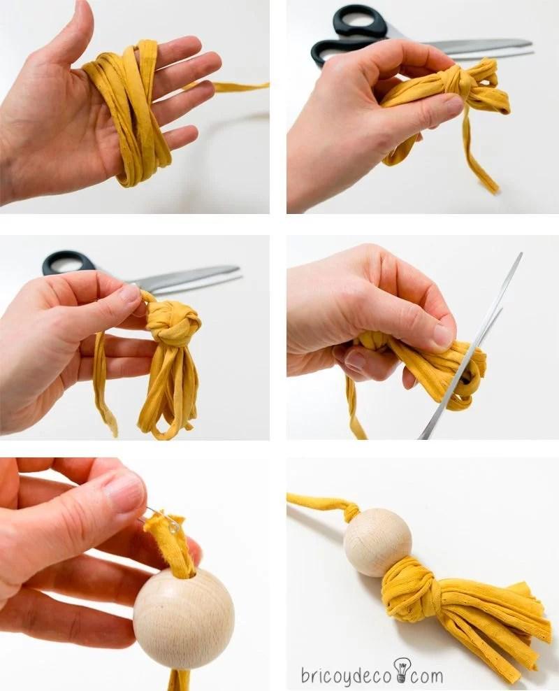 cómo hacer borlas de trapillo y madera