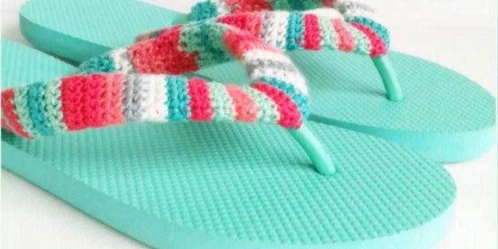cómo personalizar las chanclas con crochet