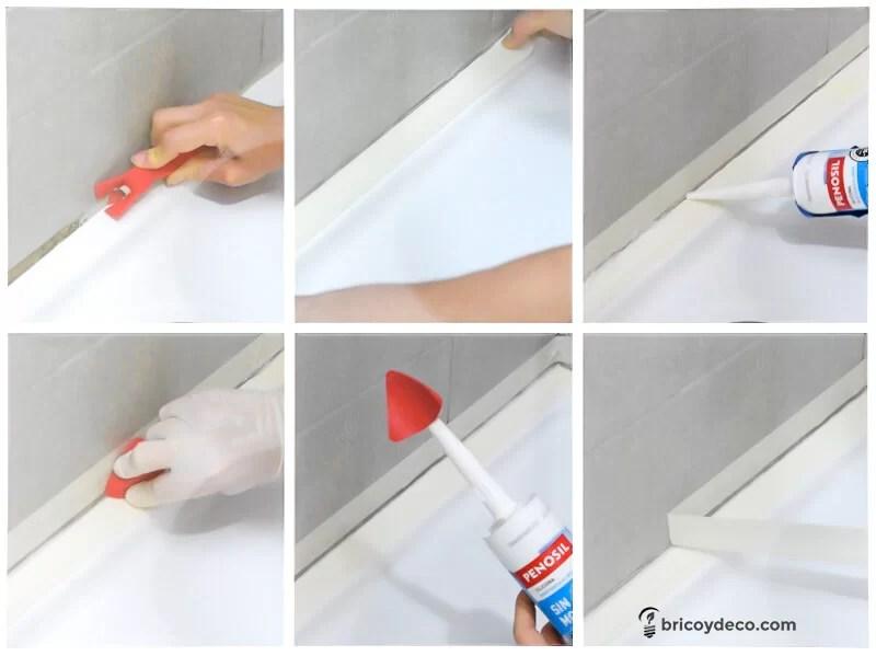 C mo eliminar el moho de las juntas de silicona paso a - Como quitar silicona de la pared ...