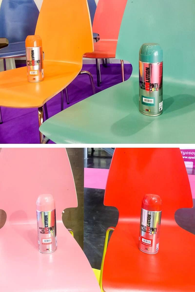 sillas pintadas con pintura acrílica en spray