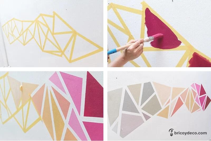 decoración geométrica de pared paso a paso