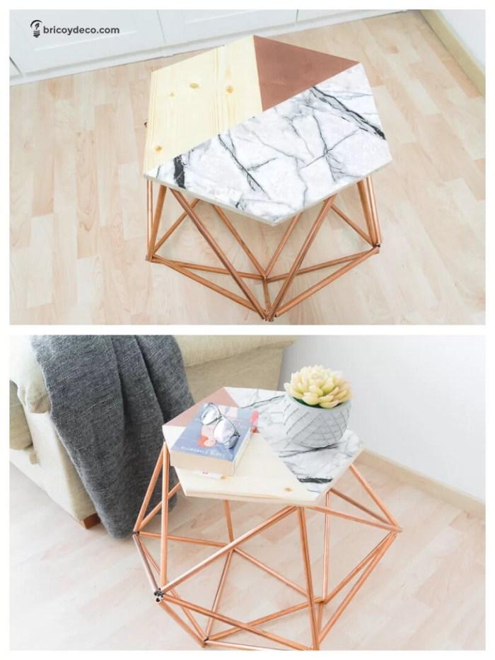 muebles DIY para terraza: mesa con tubos de cobre