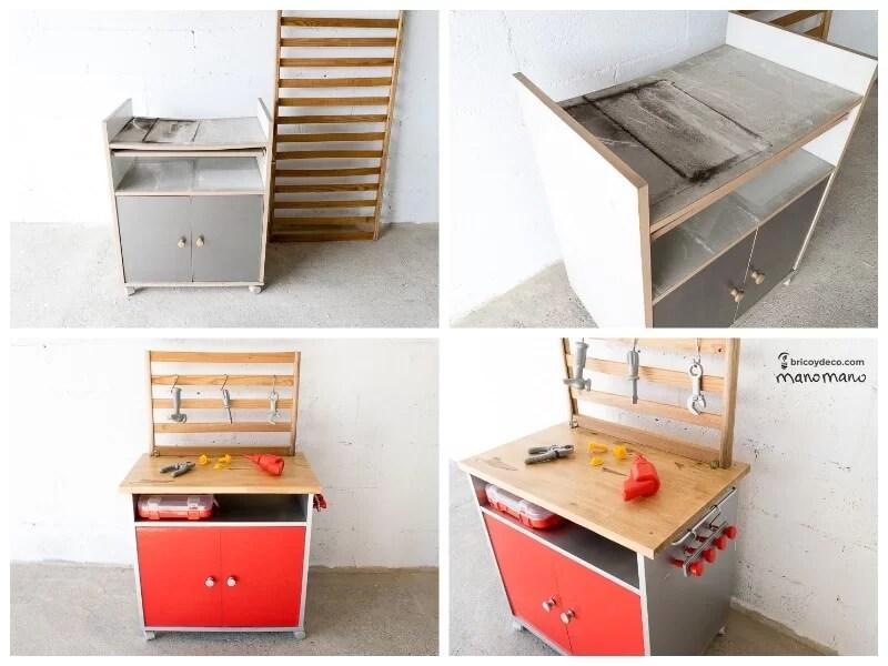 banco de trabajo de juguete reciclando un mueble microondas
