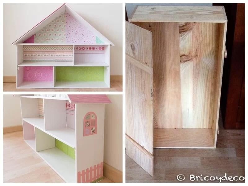 casa de muñecas con una caja reciclada