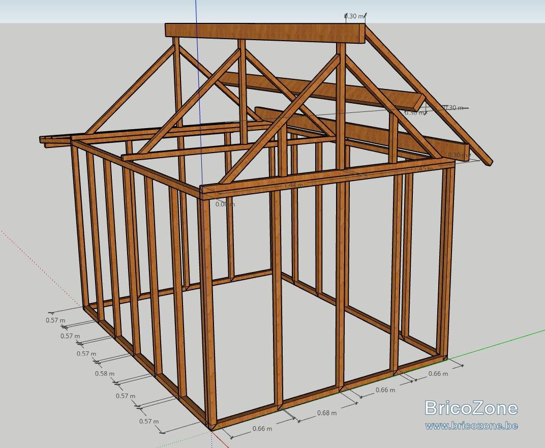 cabane en bois toit a deux pentes