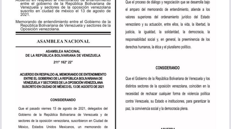 La Asamblea Nacional respalda el acuerdo firmado entre el Gobierno de Venezuela y la oposición