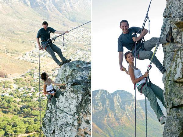 rock climbing engagement photos
