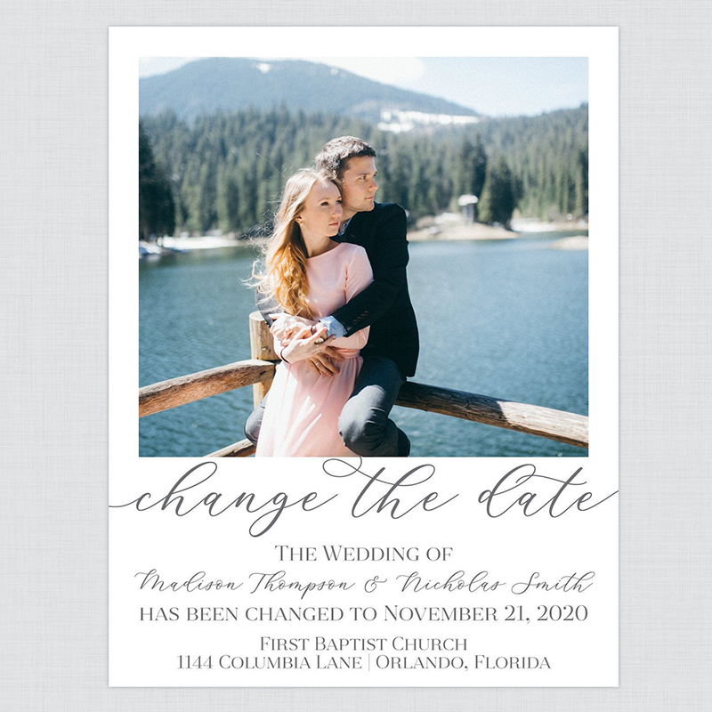 Change the Date Card or Postcards by The Papered Wedding via Etsy