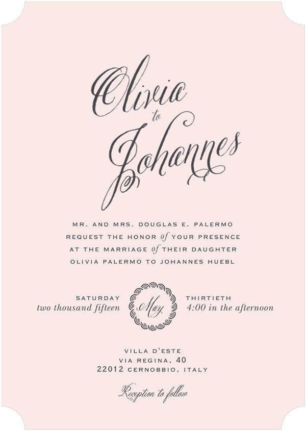 Olivia Palermo Johannes Huebl Wedding Invitation Style
