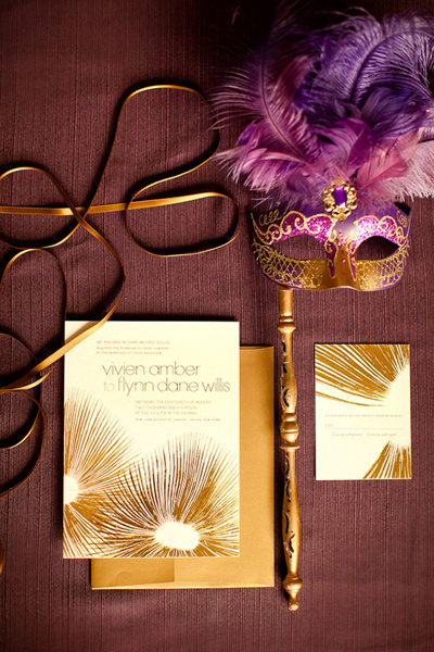 masquerade purple gold wedding orchid