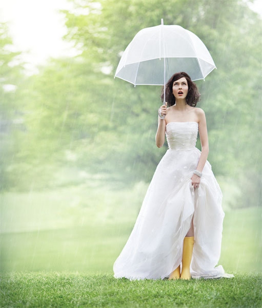 rain boots under wedding gown