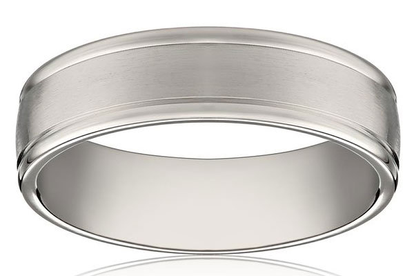 mens 14k white gold 6mm comfort fit plain wedding band