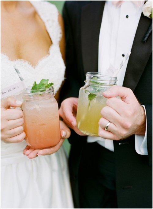 signature cocktails in mason jars