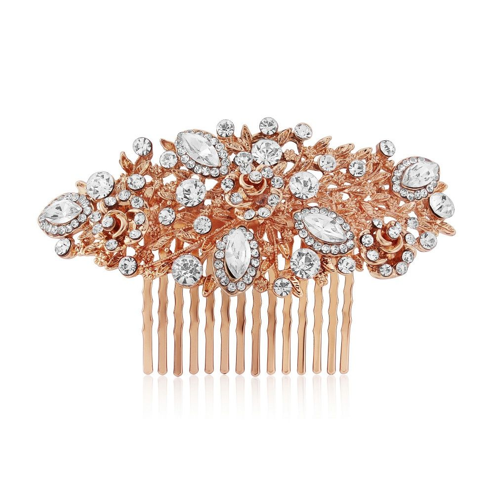 Crystal Rose Gold Bridal Hair Comb Gold Wedding Hair Comb