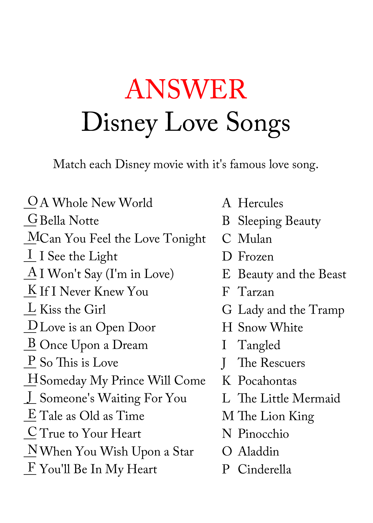 Free Disney Love Song Bridal Shower Game