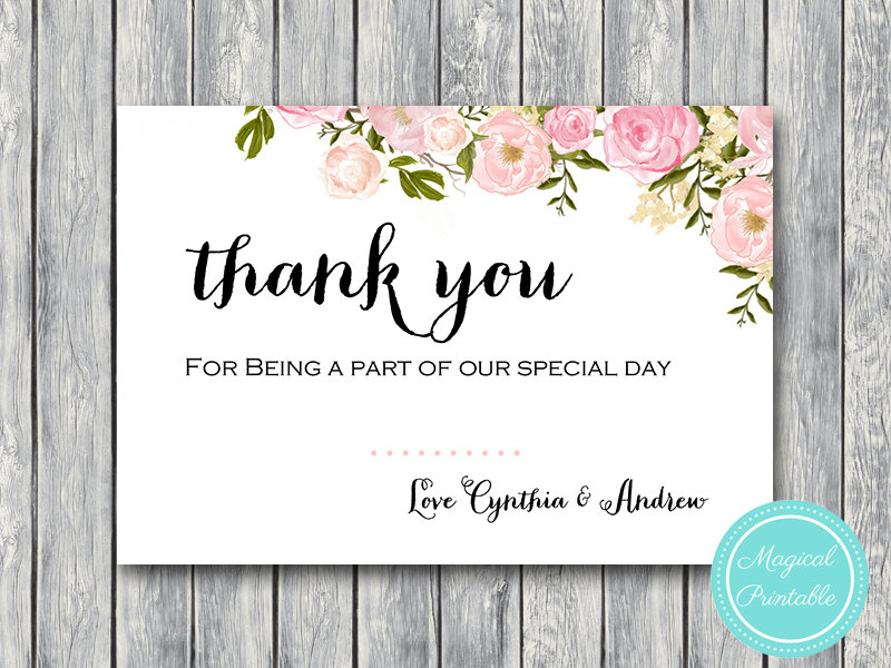 image relating to Printable Thank You Cards referred to as Tailor made Exquisite Peonies Marriage ceremony Thank By yourself Playing cards WI18