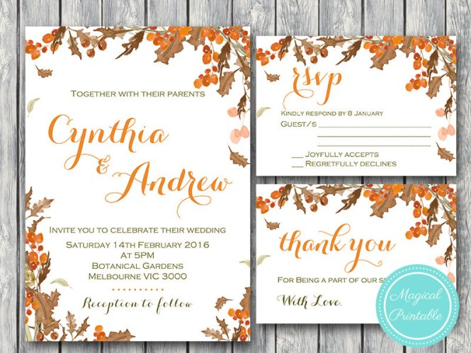 Custom Fall Autumn Wedding Invitation Set Rsvp Thanks Card