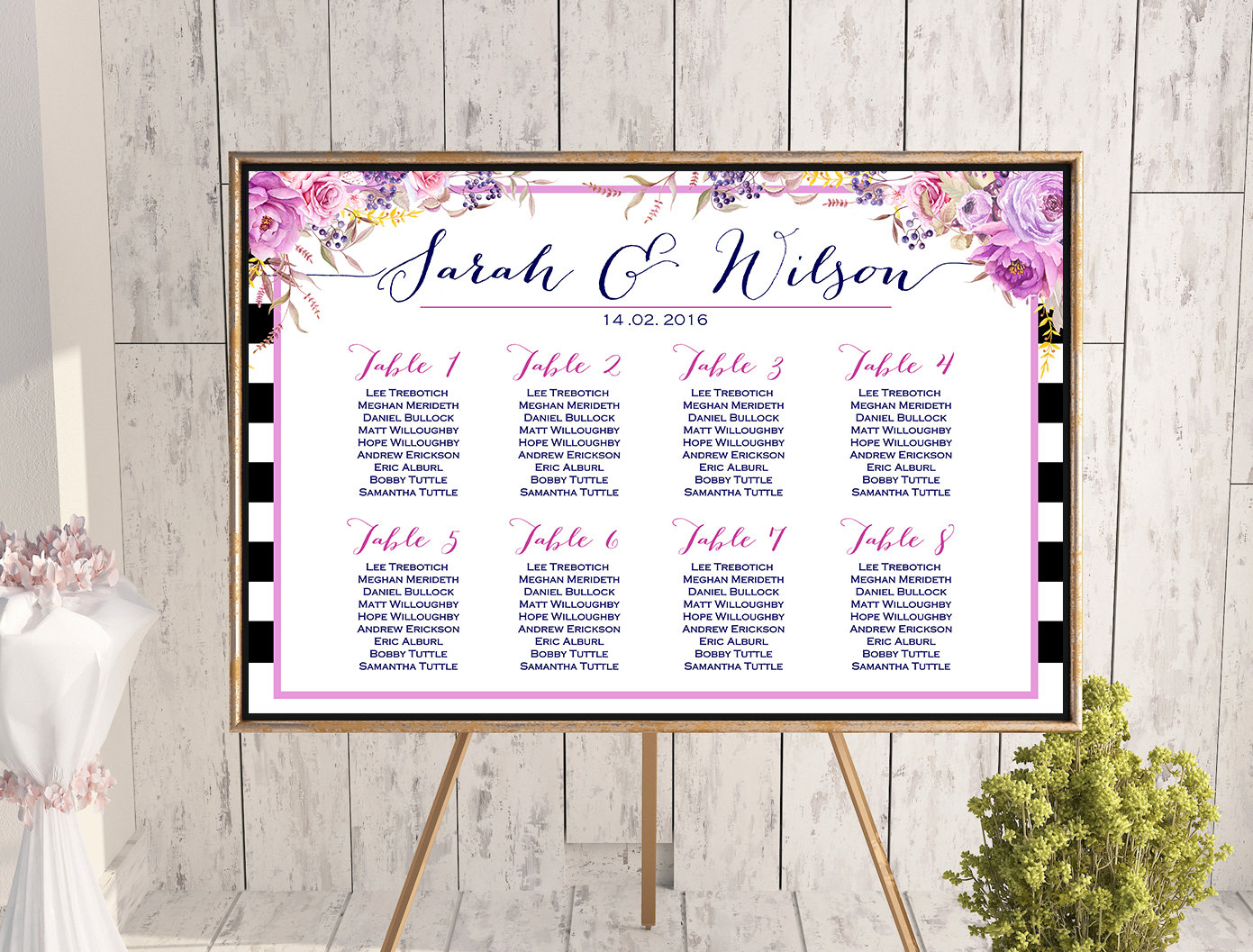 graphic regarding Printable Seating Chart identify Personalized Pink Bouquets Stripes Marriage Seating Chart Printable