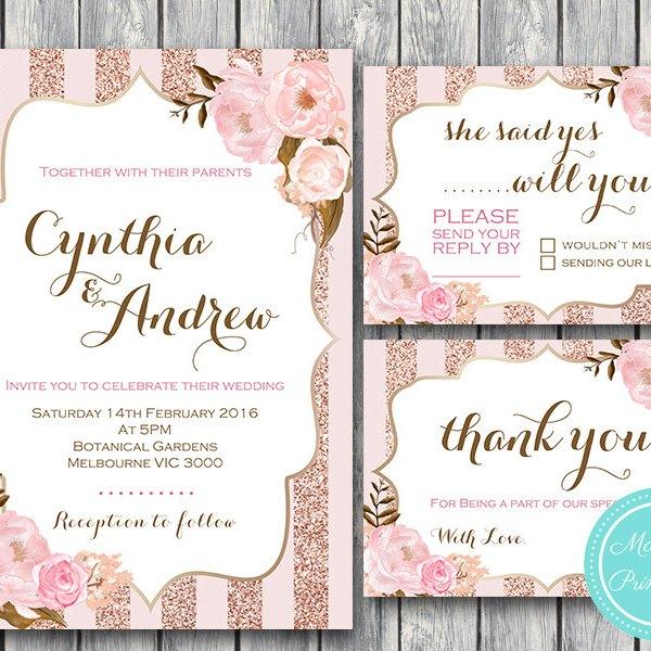 Rose Gold Wedding Invitation, RSVP, Thank You, Engagement