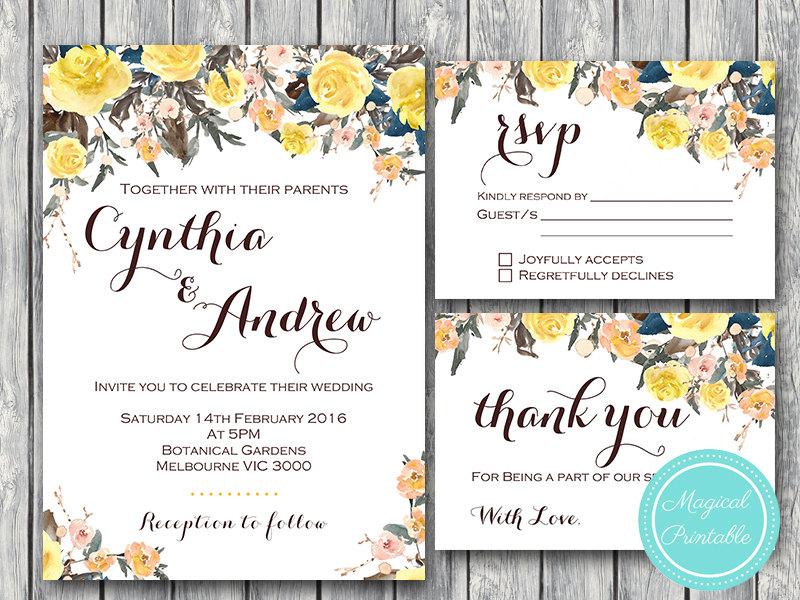 photograph regarding Printable Wedding Card named Custom made Yellow Rose Wedding day Invitation RSVP Because of Card