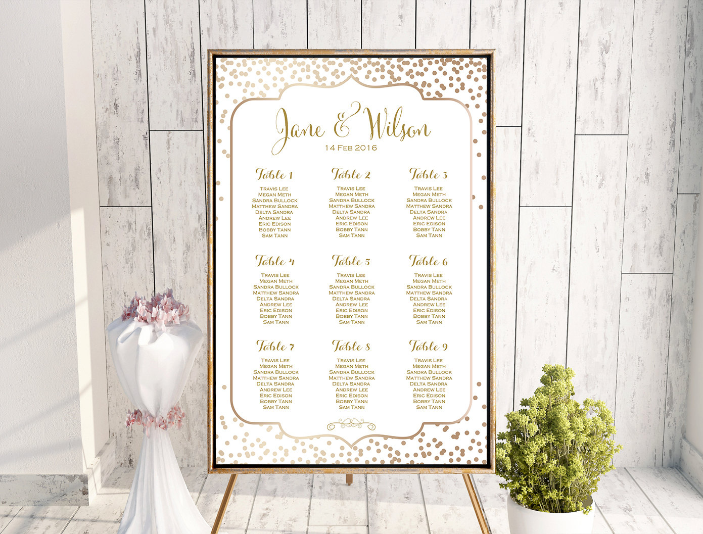 picture relating to Printable Wedding Seating Chart identify Personalized Gold Confetti Wedding day Seating Chart WC113