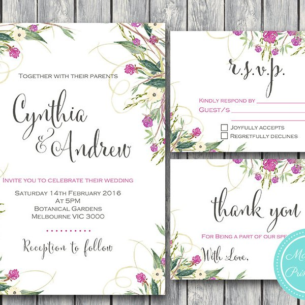 Purple Watercolor Wedding Invitation, RSVP, Thank You