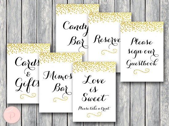 graphic relating to Printable Bridal Shower Signs titled Down load Gold Wedding ceremony Signs or symptoms Printable