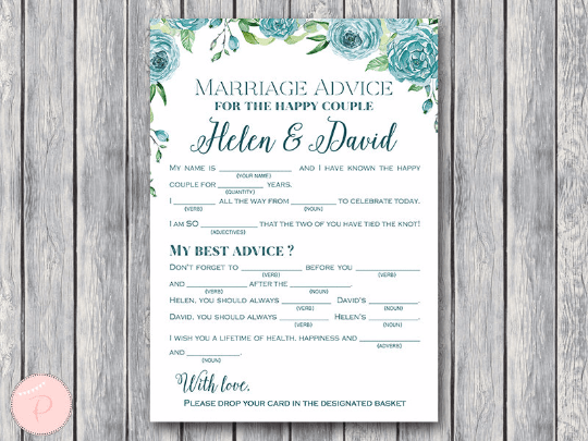 photograph relating to Printable Mad Gab Cards titled Custom made Teal Floral Partnership information playing cards, Wedding ceremony Outrageous Libs TH77