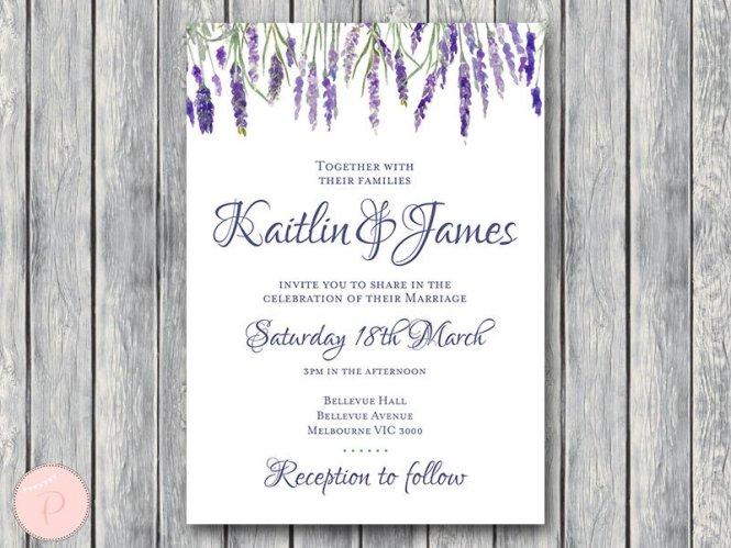 Custom Lavender Wedding Invitation