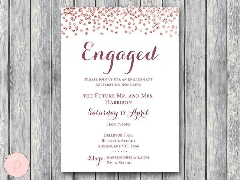 photograph relating to Party Invitations Printable known as Customized Rose Gold Engagement Occasion Invitation th68