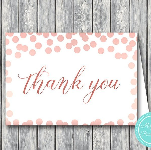 Rose Gold Confetti Wedding Thank You Cards